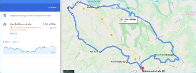 Auswahl einer Route über Google Maps