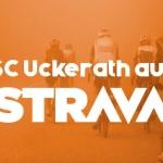 """Radfahrer in orangenem Nebel mit Schriftzug """"SC Uckerath auf Strava"""""""
