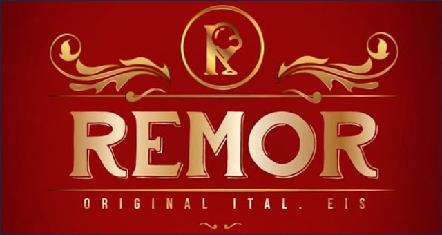 Seit 2020 hat Remor ein neues Logo. Goldene Grafik auf rotem Hintergrund.